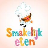 Smakelijk eten Nederlands decoratief type met chef-kokkarakter stock illustratie