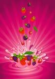 Smakelijk fruit in yoghurt Royalty-vrije Stock Foto's