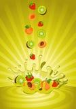 Smakelijk fruit in yoghurt Stock Afbeelding
