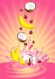 Smakelijk fruit in yoghurt Stock Foto