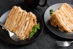 Smakelijk Gelaagd Honey Cake Medovik stock foto