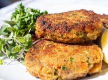 Smakelijk, kernachtig en zetmeelrijk, fishcakes, krabcakes Gebraden vissenpasteitjes die op een plaat met salade aan de kant word royalty-vrije stock afbeelding