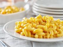 Smakelijk MAC en kaas op plaat dichte omhooggaand royalty-vrije stock foto's