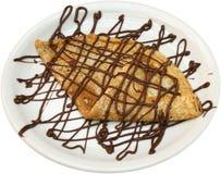 Smakelijk pannekoekdessert met chocolade sparen Smakelijk de pannekoekdessert van de Downloadvoorproef met chocolade Royalty-vrije Stock Foto's
