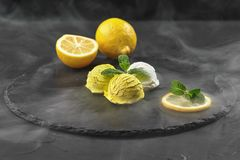 Smakelijk romig die en citroenroomijs met munt wordt verfraaid in rook op een steenlei wordt gediend over een zwarte achtergrond stock afbeeldingen