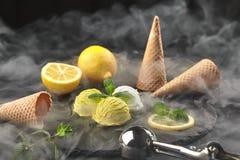 Smakelijk romig die en citroenroomijs met munt wordt verfraaid in rook op een steenlei wordt gediend over een zwarte achtergrond stock fotografie