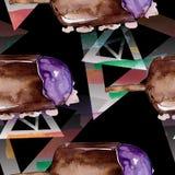 Smakelijk roomijs in een waterverfstijl Aquarelle de zoete reeks van de dessertillustratie Naadloos patroon als achtergrond stock afbeeldingen