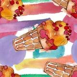 Smakelijk roomijs in een waterverfstijl Aquarelle de zoete reeks van de dessertillustratie Naadloos patroon als achtergrond royalty-vrije stock afbeeldingen