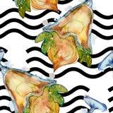 Smakelijk roomijs in een waterverfstijl Aquarelle de zoete reeks van de dessertillustratie Naadloos patroon als achtergrond stock afbeelding