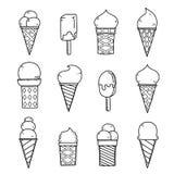 Smakelijk roomijs op wit De schets vectorillustratie van de handtekening Royalty-vrije Stock Afbeeldingen