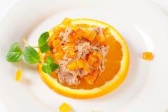 Smakelijk uitgespreid met sinaasappel Royalty-vrije Stock Foto