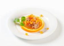 Smakelijk uitgespreid met sinaasappel Stock Foto