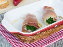 De broodjes van de snack van jamon en broccoli Stock Afbeeldingen