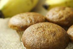 Smakelijke banaan cupcake, banaanmuffins Stock Fotografie