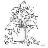 Smakelijke bessenaardbeien in een mok Zwart Wit royalty-vrije illustratie