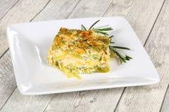 Smakelijke braadpan met zalm en broccoli royalty-vrije stock foto