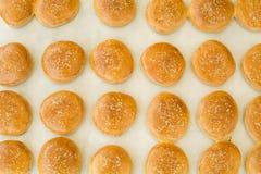 Smakelijke broodjes met sesam op oven-dienblad Royalty-vrije Stock Foto's
