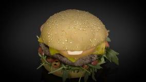 Smakelijke cheaseburger met rucola het roteren stock videobeelden