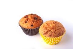Smakelijke chocolade cupcakes, muffins op een witte houten lijst Royalty-vrije Stock Fotografie