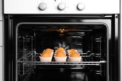 Smakelijke cupcakes op bakselrek Royalty-vrije Stock Foto