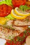 Smakelijke de toppositiefilet van vissensnoeken stock foto