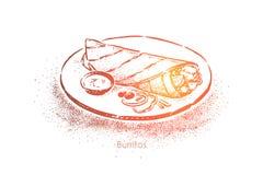 Smakelijke die burrito, vlees, sla, groenten en kaas in tortilla, traditioneel straatvoedsel in Mexico wordt verpakt vector illustratie