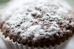 Smakelijke die muffincakes met gepoederde eigengemaakte suiker worden bestrooid Royalty-vrije Stock Foto's