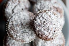 Smakelijke die muffincakes met gepoederde eigengemaakte suiker worden bestrooid Royalty-vrije Stock Fotografie