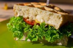 Smakelijke dubbeldekker met wit wafelbrood, tomaat, ui, salade op groene plaat openlucht stock afbeelding