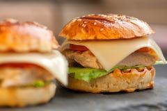 Smakelijke eigengemaakte broodjes met sesam Stock Afbeelding