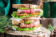 Smakelijke eigengemaakte sandwich met rundvlees Stock Foto's