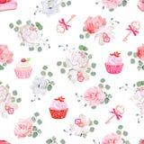 Smakelijke gebakjes, boeketten van bloemen, sleutels met rode bogen op witte naadloze vectordruk stock illustratie