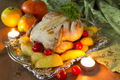 Smakelijke gebraden kip Stock Fotografie