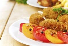 Smakelijke gebraden kippenkebab stock afbeelding