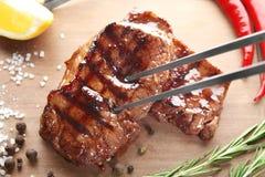 Smakelijke geroosterde lapjes vlees Stock Foto
