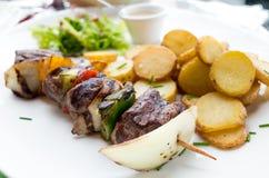 Smakelijke geroosterde vlees en groentenvleespennen Royalty-vrije Stock Afbeeldingen
