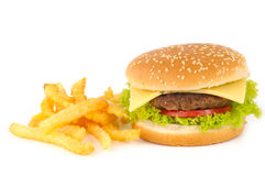 Smakelijke hamburger met aardappels Royalty-vrije Stock Afbeeldingen