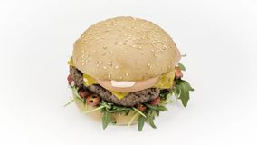 Smakelijke hamburger op wit stock footage