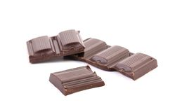 Smakelijke hap van donkere chocolade. stock foto