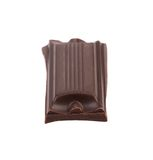 Smakelijke hap van donkere chocolade. stock afbeelding