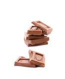 Smakelijke hap van melkchocola. stock foto's