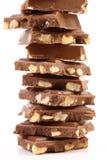 Smakelijke hap van melkchocola met noten. royalty-vrije stock foto