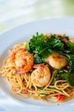 Smakelijke hete en kruidige spaghetti Stock Afbeelding