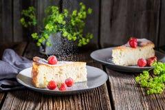 Smakelijke kaastaart met vruchten en suiker stock foto