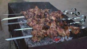 Smakelijke kebab die op een grill voorbereidingen treffen stock video