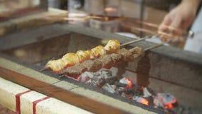 Smakelijke kebab op een grill de chef-kok bereidt een kebab op de grill voor 4K stock footage