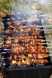 smakelijke kebab op vleespennen en grill met rook royalty-vrije stock afbeelding