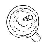 Smakelijke koffiedrank met krabbel van het slagroom de leuke beeldverhaal vector illustratie