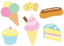 Smakelijke Mooie Dessertreeks Royalty-vrije Stock Foto's