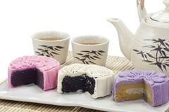Smakelijke mooncake drie Royalty-vrije Stock Afbeeldingen